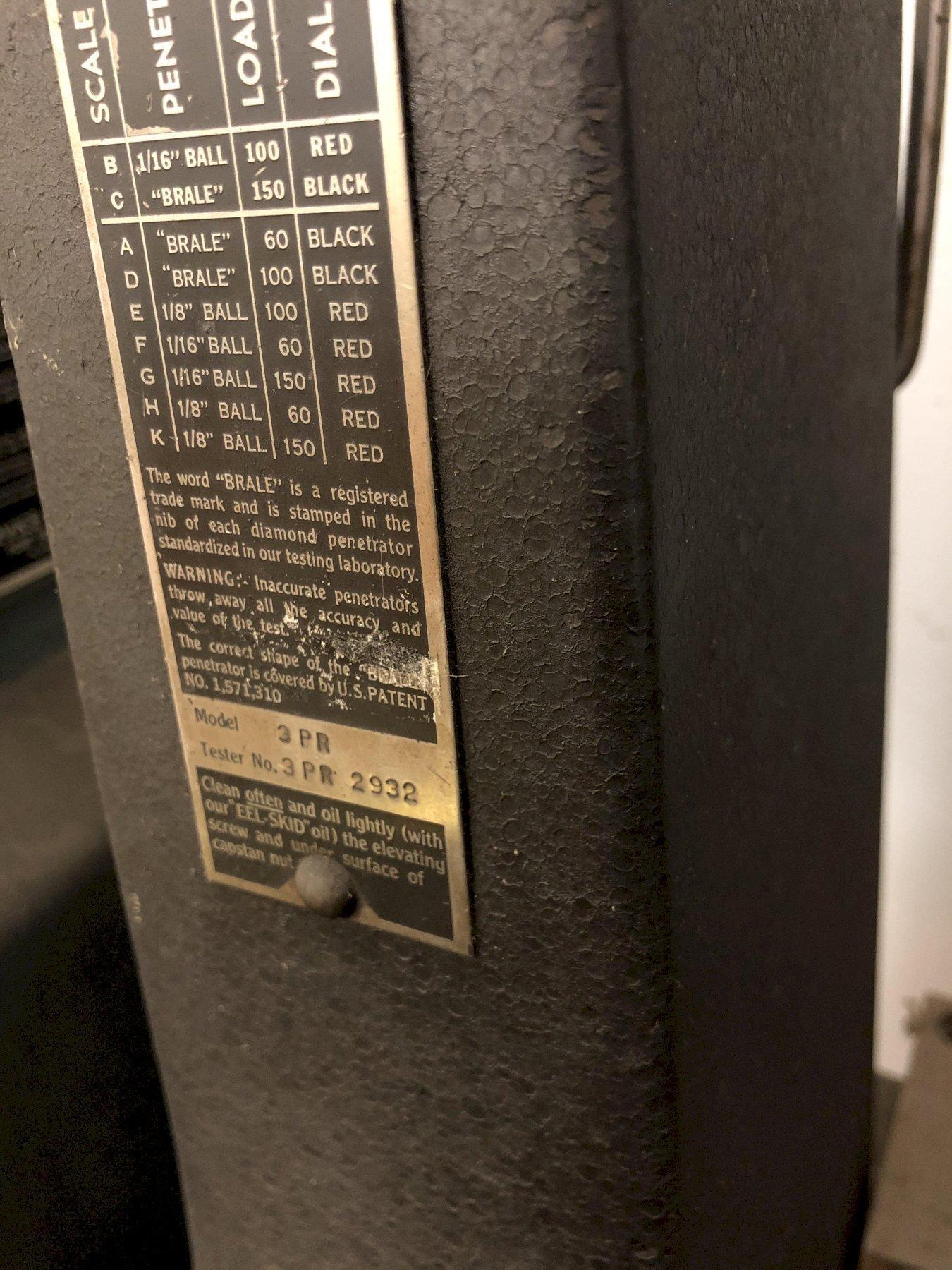 WILSON MODEL 3PR ROCKWELL TESTER S/N 3PR2932