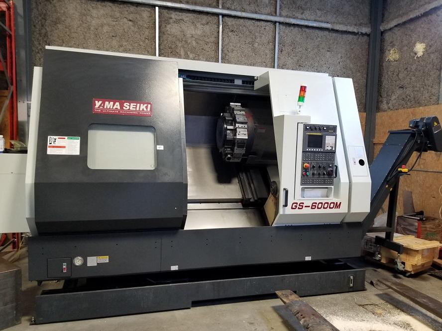 "Yama Seiki GS-6000M CNC Lathe, Fanuc 0iTD, 15"" Chuck, 37"" Centers, 4.6"" Bar Capacity, Live Milling, 50 HP, Programmable Tailstock, Holders (Live/Std), Chip Conveyor, 2014 (Like New)"