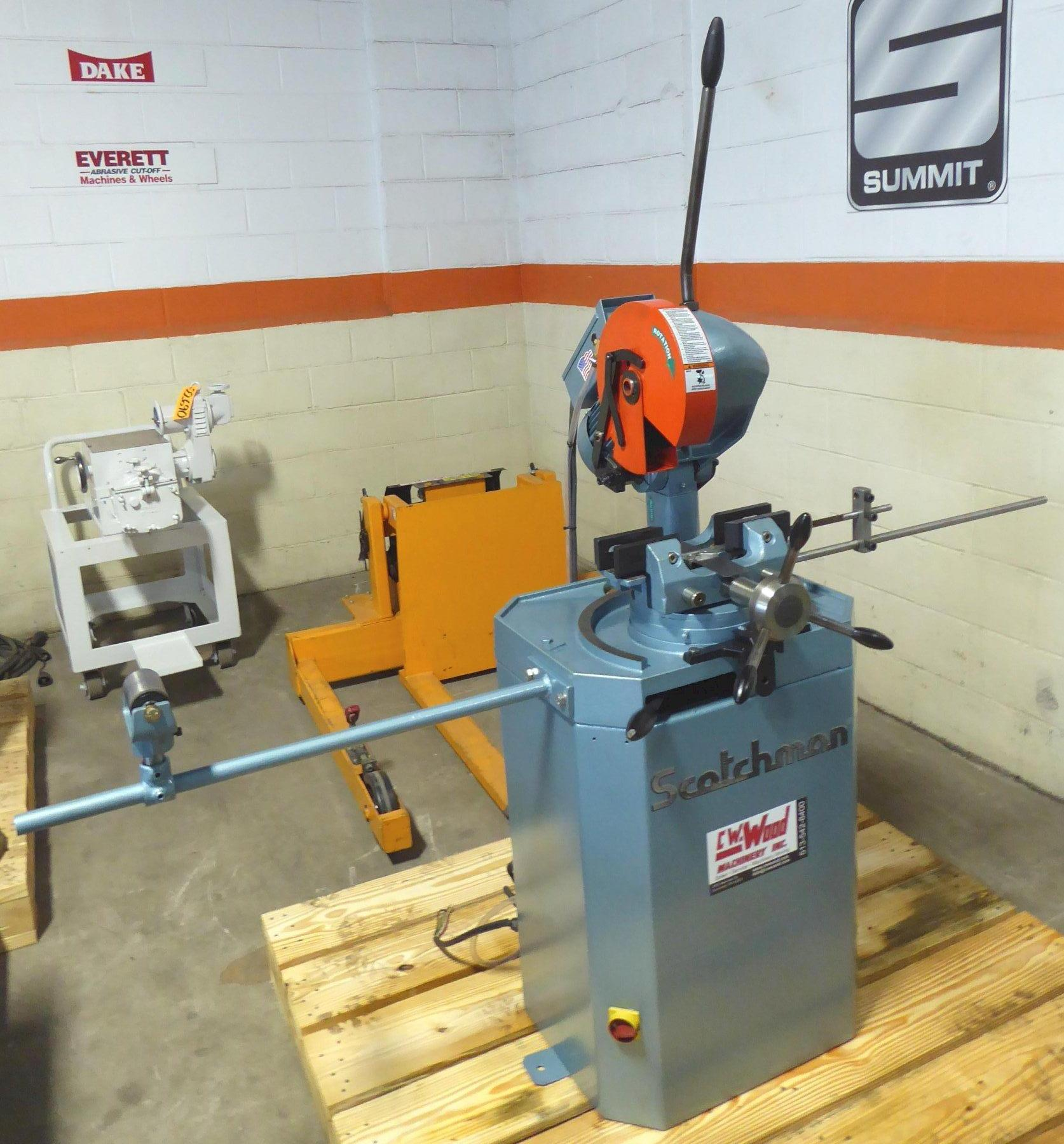 """10"""" Scotchman Cold Saw Model CPO 250 LT, 30/60 RPM, Miter, 3-1/8"""" Round Tubing, 1-1/2"""" Round Solids, 1-1/2 HP, Reconditioned 2020"""