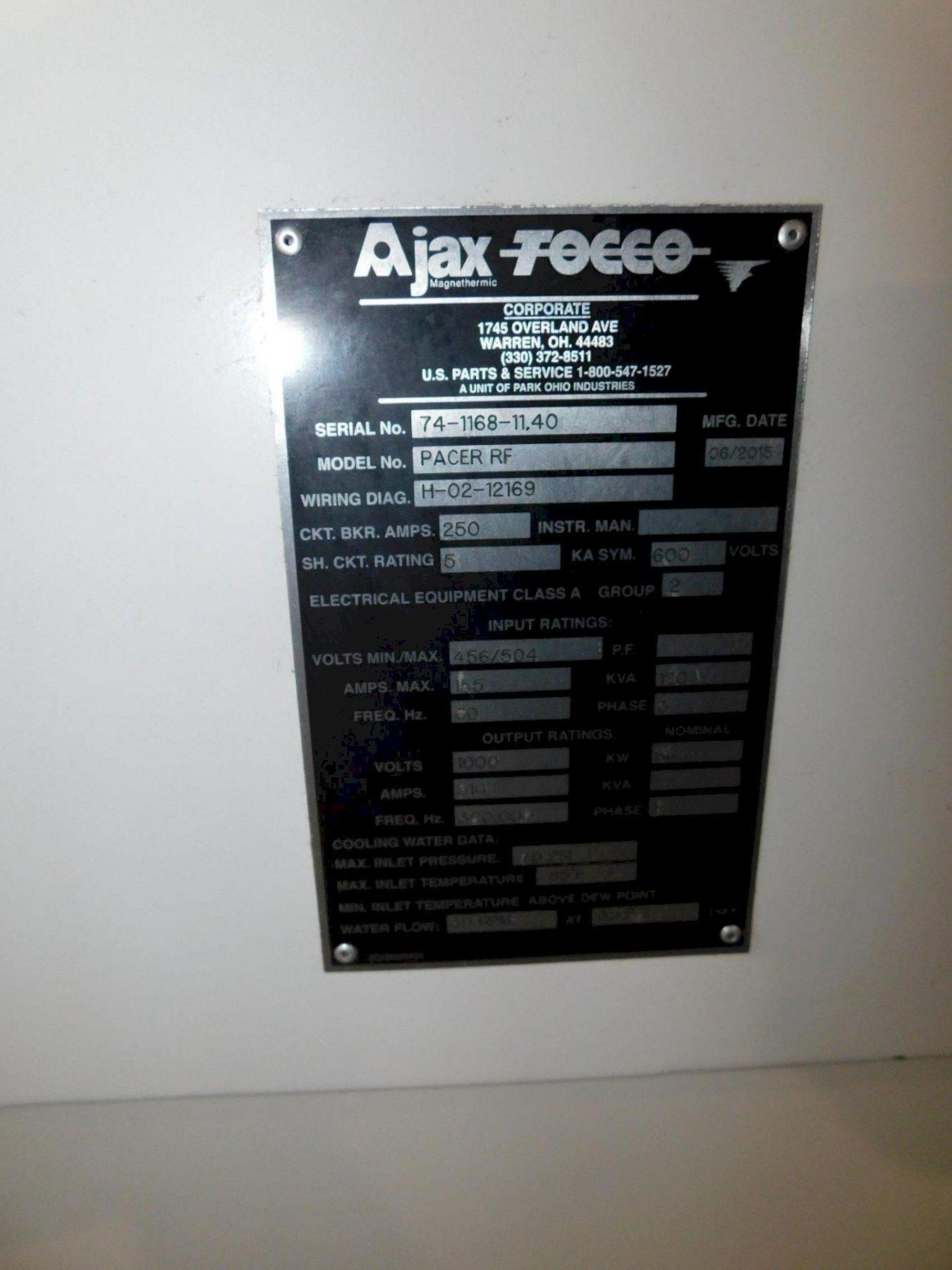 120 KVA AJAX TOCCO MODEL #PACER RF INDUCTION HEATER & SCANNER. STOCK # 0636021