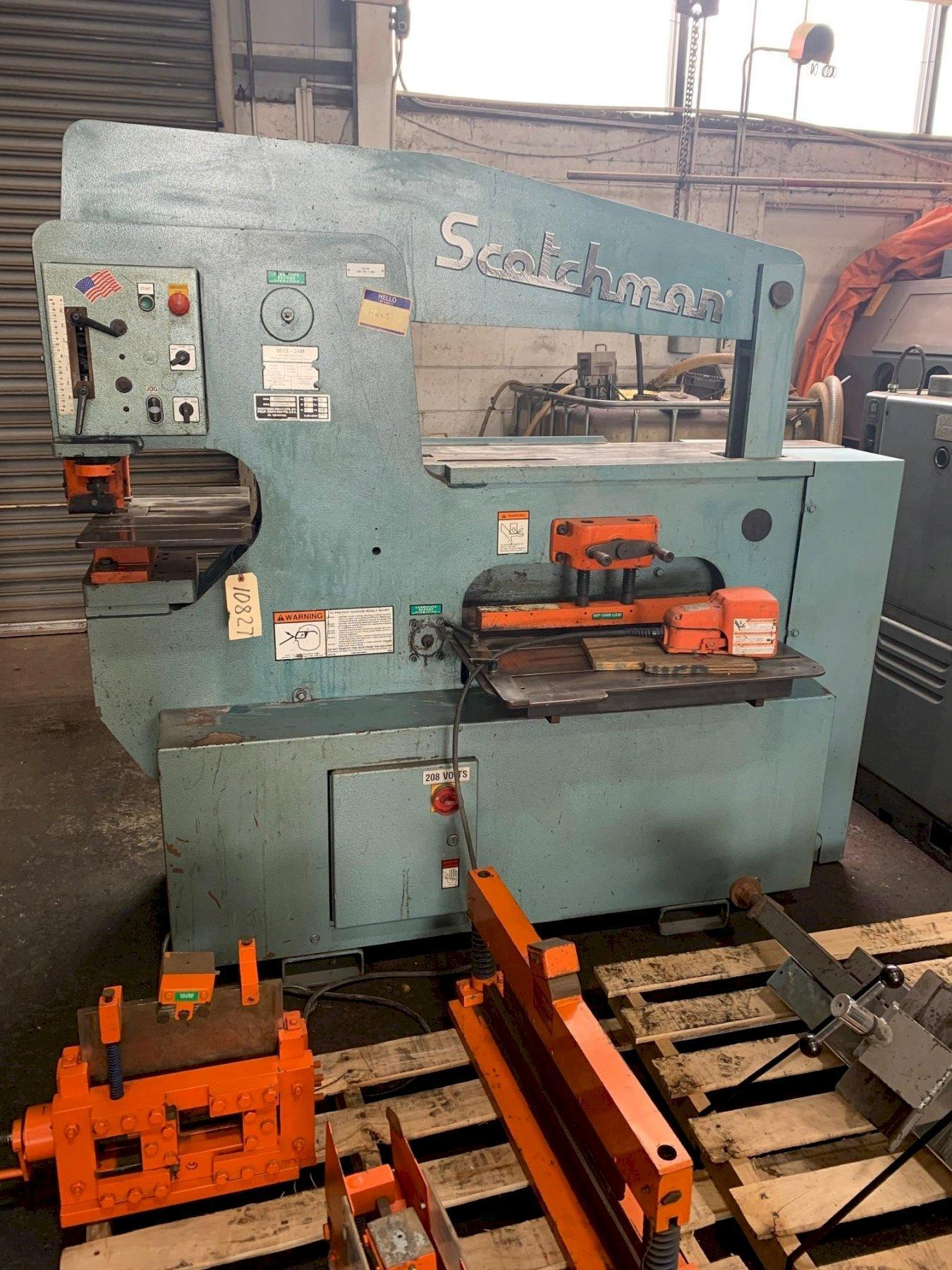 USED SCOTCHMAN 90 TON HYDRAULIC IRONWORKER MODEL 9012-24M, Year 2007, Stock #10827