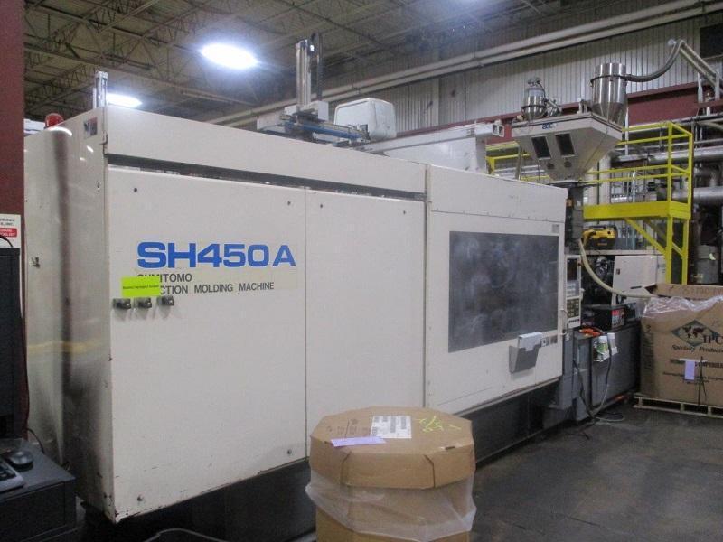 Sumitomo Used SH450A-C3750U Injection Molding Machine, 495 US ton, Yr. 1999, 80 oz.