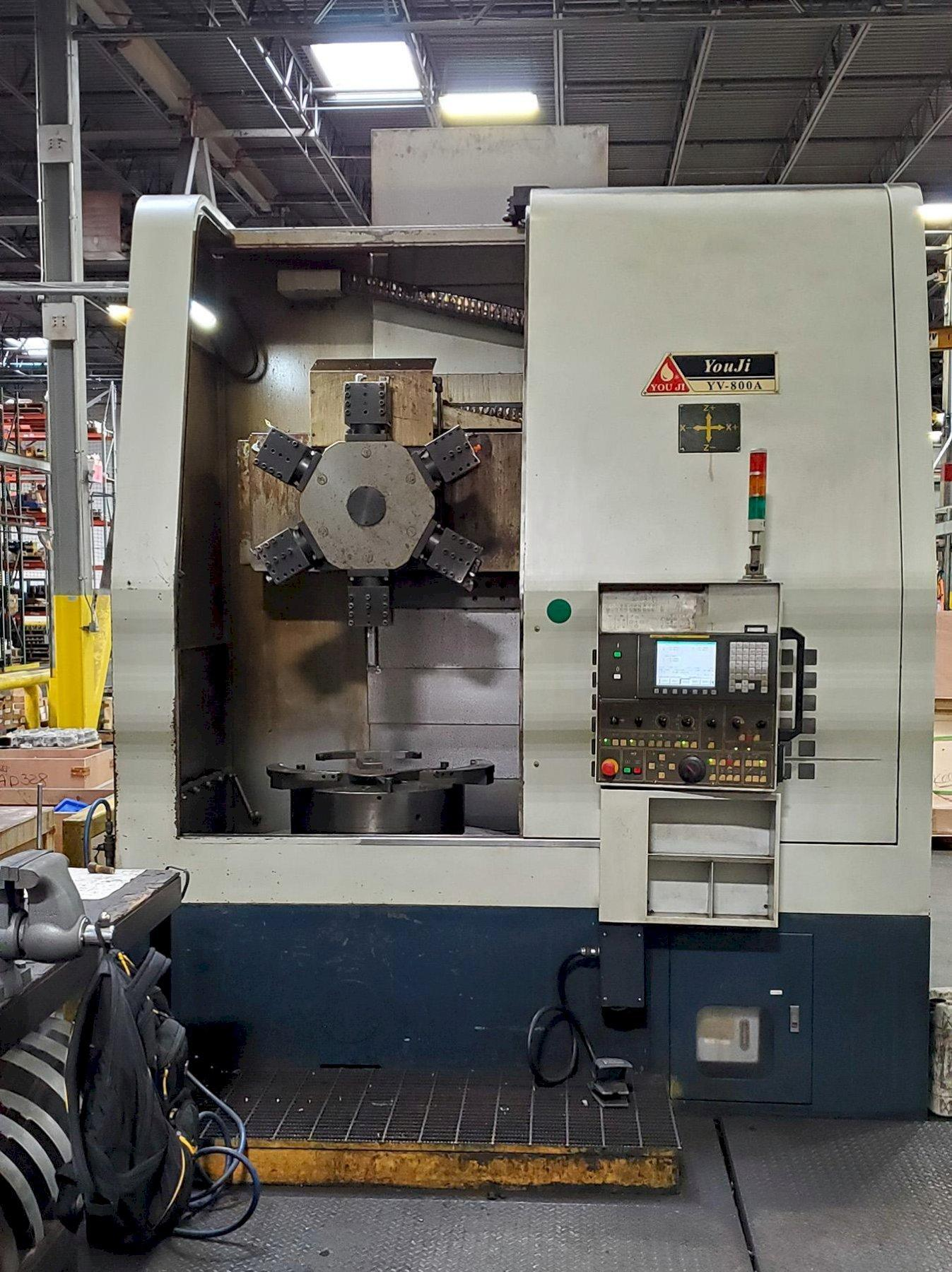 USED, YOU JI YV-800A CNC VERTICAL TURRET LATHE WITH SIX STATION HEX TURRET