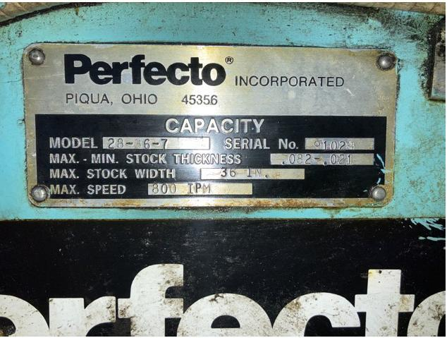 "10,000 LB x 36"" WIDE x .082"" PERFECTO COMPLETE SERVO FEED LINE"