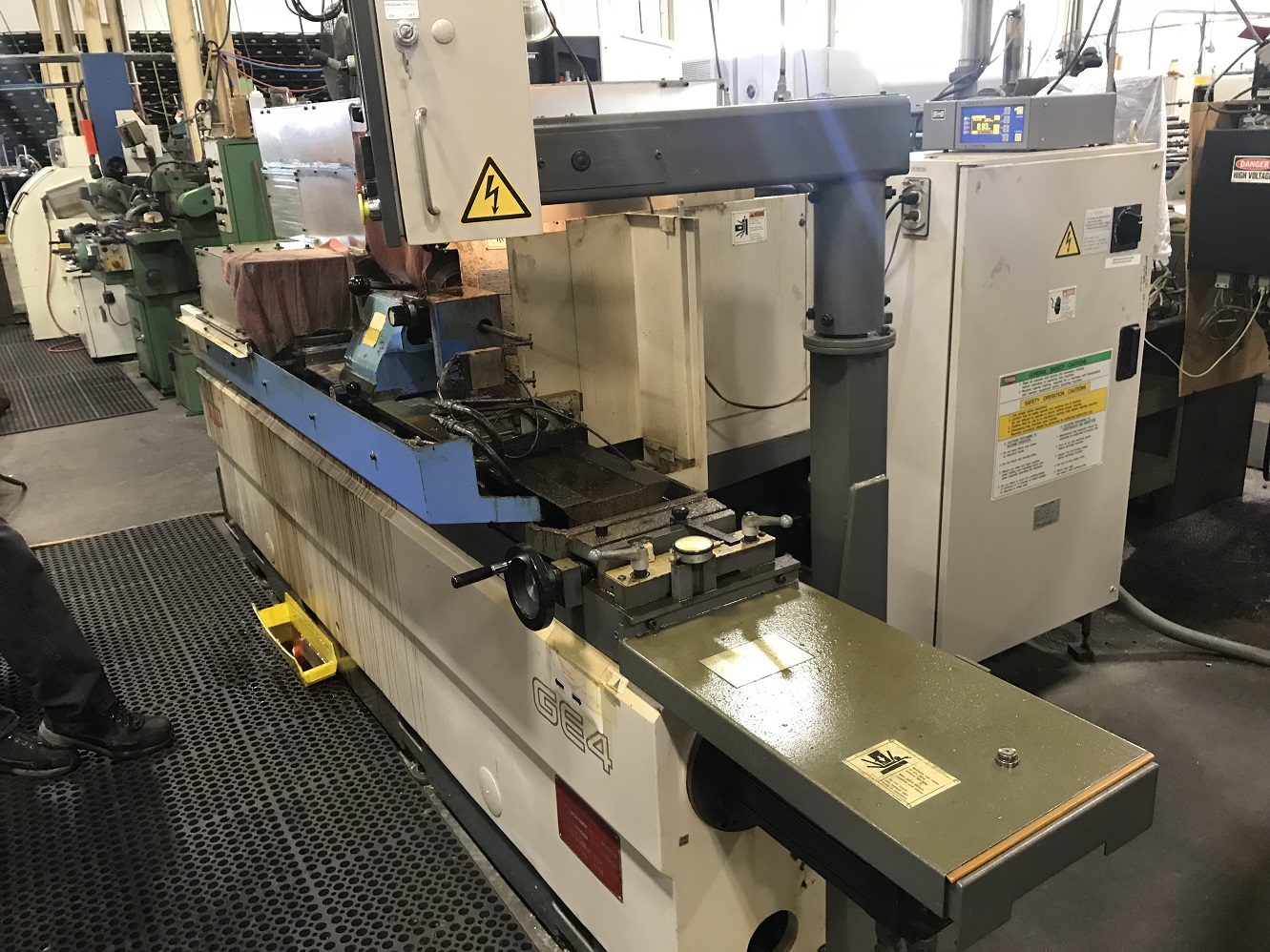 "Toyoda GE4A-100 CNC Angle Head Cylindrical Grinder, GC32 Control, 13"" Swing, 39"" Centers, 18"" Wheel, Shoulder Attach, Auto Wheel Balancing System, (2) Wheel Mounts, T/S, 1998"