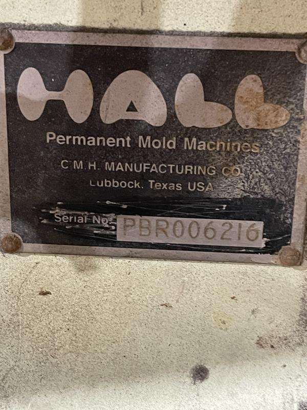 """Hall 90 degree tilt pour permanent molding machine s/n pbr4503, 18"""" x 24"""" platen size, set up for quick change with 30"""" x 12"""" opening"""