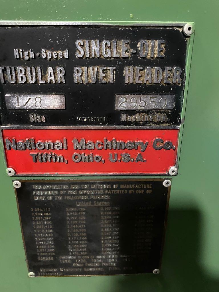"1/8"" National High Speed Single Die Tubular Rivet Header"