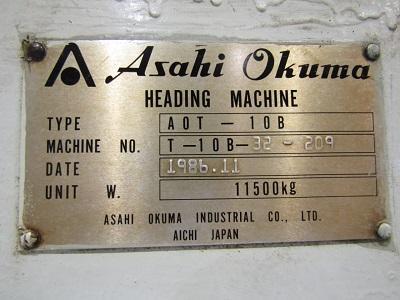"3/8"" ASAHI OKUMA MODEL# A0T-10B HIGH SPEED 2 DIE 2 BLOW HEADER   Our stock number: 114087"