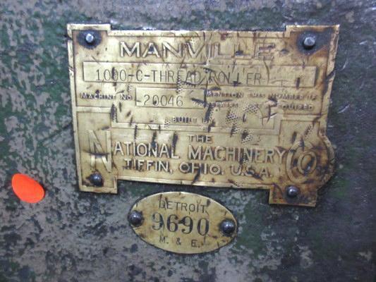 "1-1/4""  Manville Flat Die Model 1000-C Hand Feed Thread Roller"