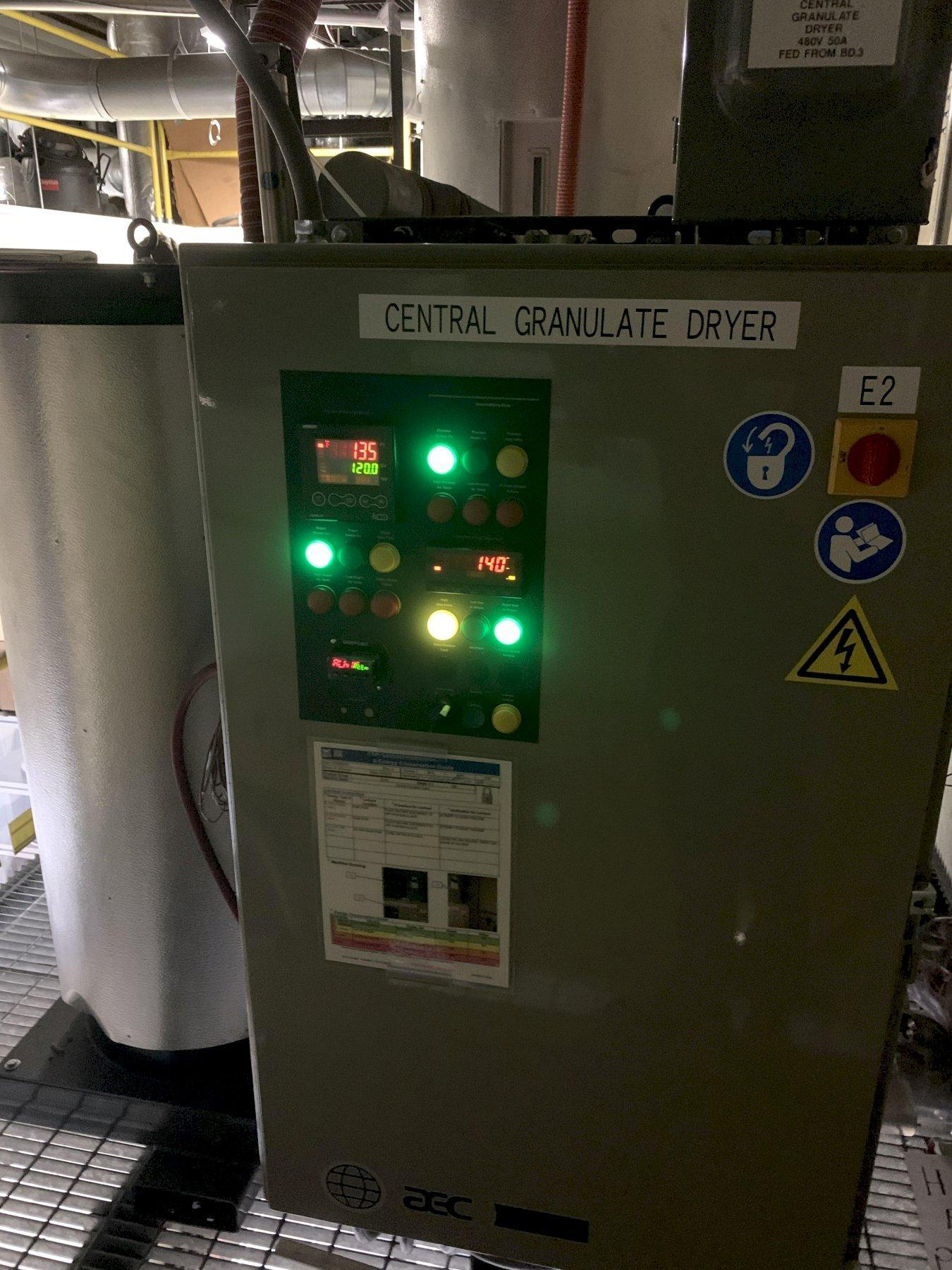 AEC WD350 Used Material Dryer and WH30 Drying Hopper, Desiccant, Approx. 350 lbs/hr, 480V, Yr. 2019