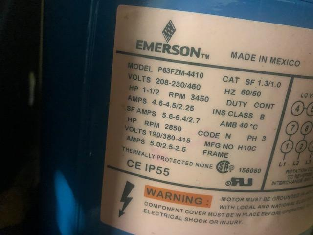 new in box 1 1/2 hp EMERSON MOTOR AND GOULDS STAINLESS STEEL PUMP  SERIES NPE, SIZE 1 1/2 X 2-6, CAT. # 3ST1F5E4, S/N K1002390