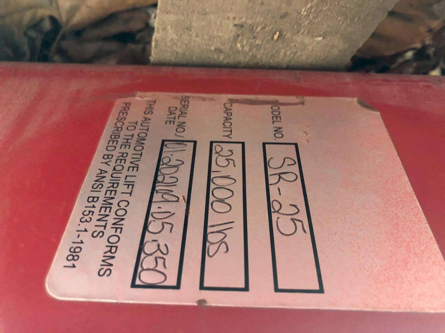 25,000 lb FOUR POST TRUCK LIFT WITH SLIDING AIR JACKS STOCK# 2189