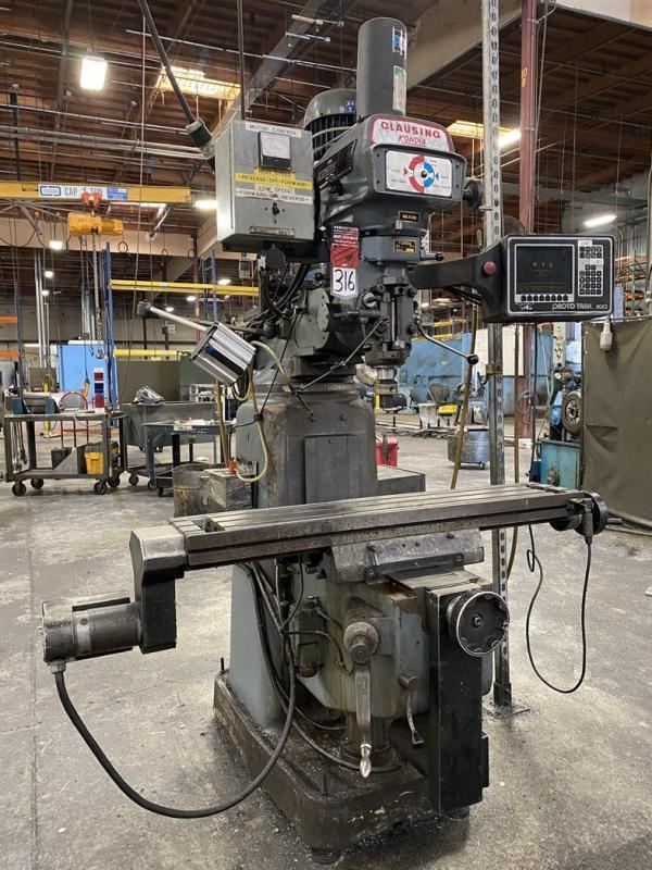 3 HP CLAUSING KONDIA MODEL FV-A PROTOTRAK MX2 CNC  VERTICAL KNEE MILL: STOCK #13022