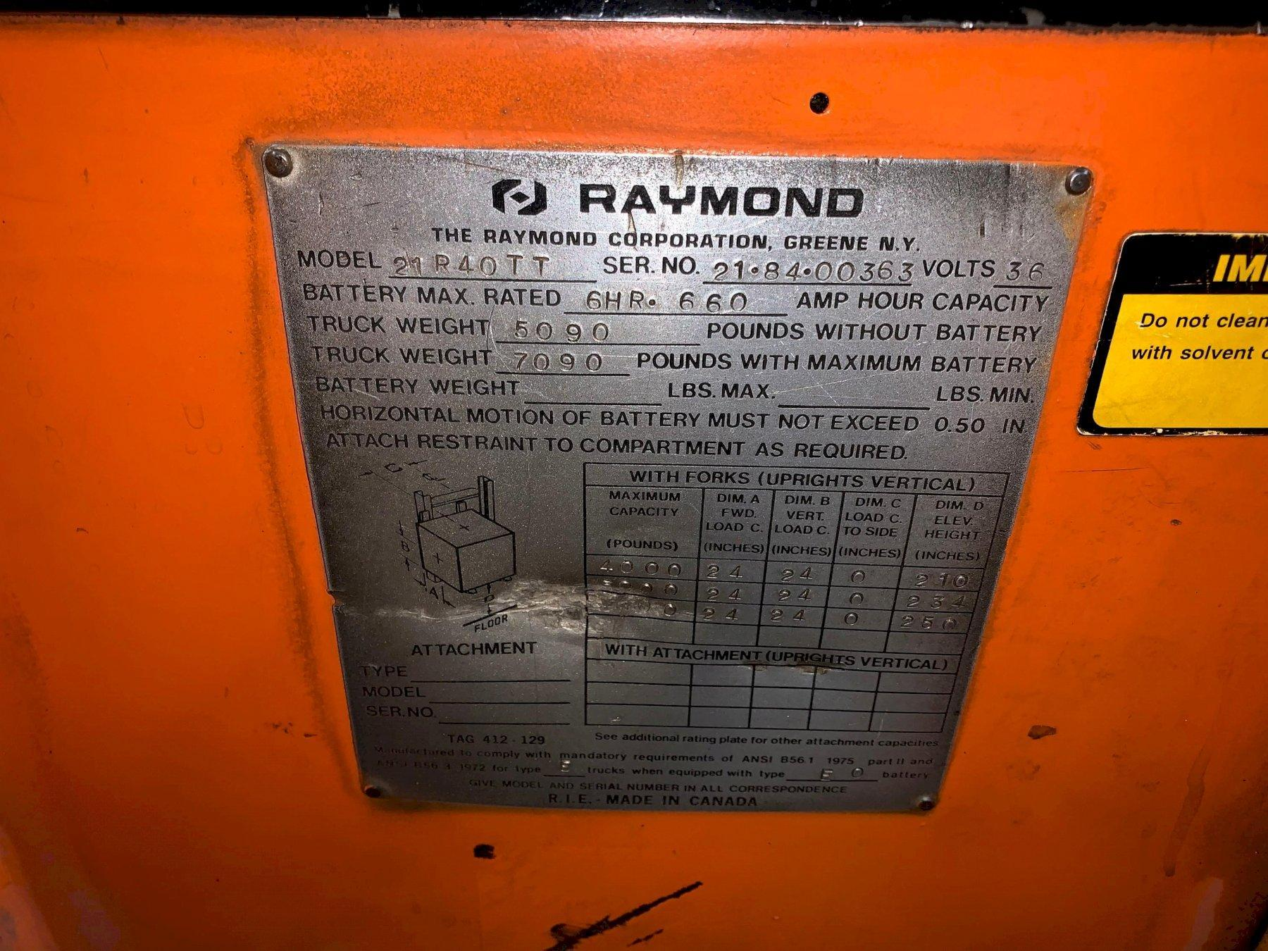 Raymond 4,000Lb Electric Reach Truck