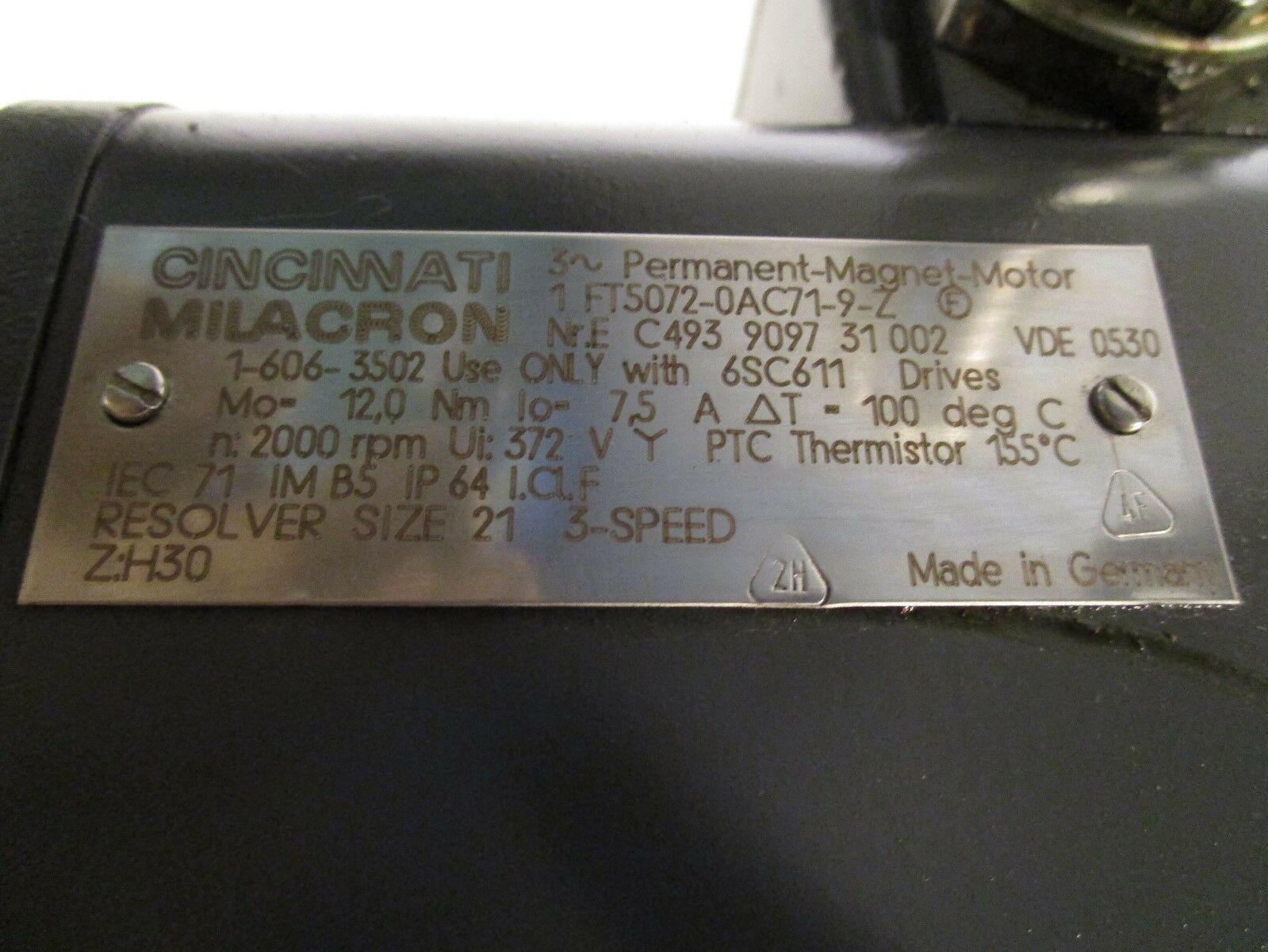 Siemens AC Servo Motor 1FT5072-0AC71-9-Z CMI Part# 1-606-3502