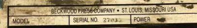 58 TON BECKWOOD MODEL #2P58F35P1850 DOWN MOVING HYDRAULIC PRESS, NEW 1999