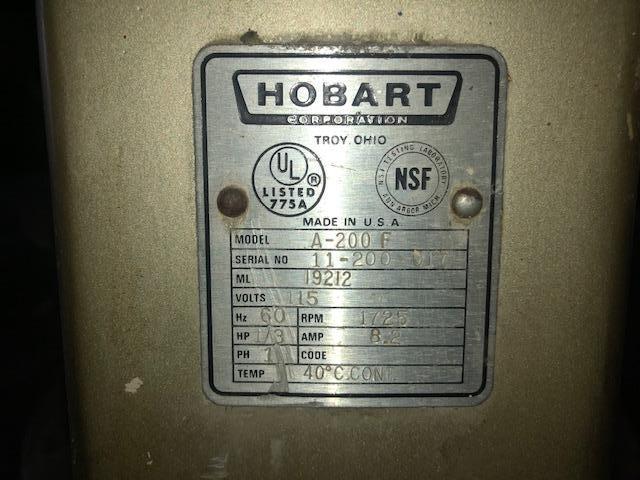 HOBART MIXER MODEL A-200F STOCK#2469