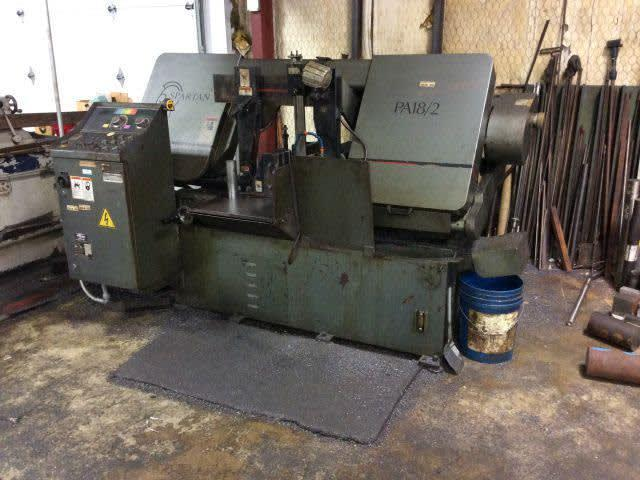 14″ x 18″ SPARTAN/MARVEL Horizontal Band Saw PA18/2, 18″ Rounds, Auto Feed, 1-1/2″ Blade, 7.5 HP, 1996, Clean