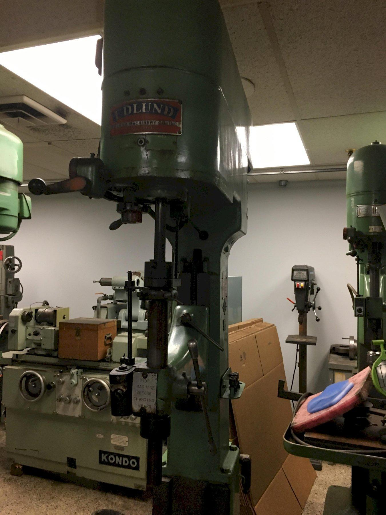 Edlund Model 2F-15 Drill Press, S/N 522, with Motor Reversing Tapping Attachment.