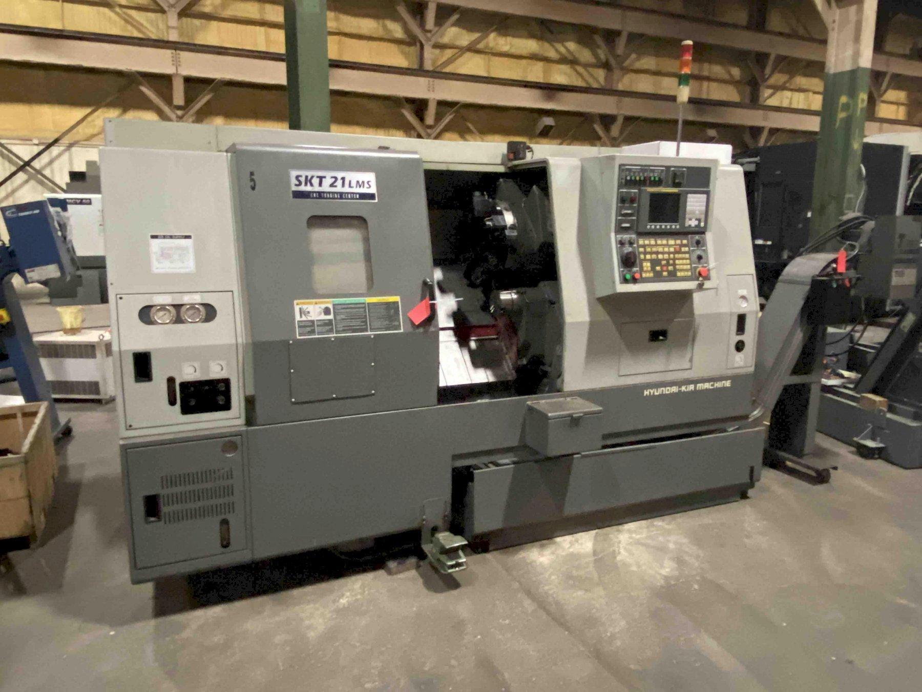 "Hyundai Kia SKT21LMS CNC Lathe, Fanuc 0iTC, 8"" Chuck, 5.3"" Sub Chuck, 21.6"" Swing, 20.8"" Centers, C-Axis, Live Milling, 2.6"" Bar Cap, 12 Position Turret, Parts Catcher, Tool Eye, Chip Conv, Low Hours, 2006"