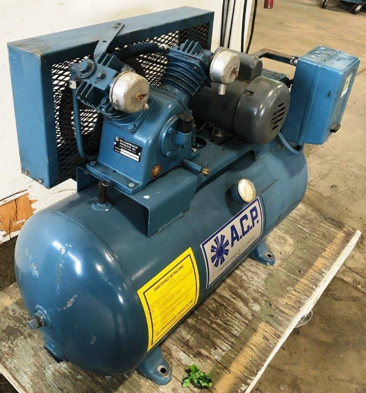 3/4 HP A.C.P. Air Compressor, 3 CFM @ 90 PSI, 30 Gallon Horizontal Tank, 1 Phase