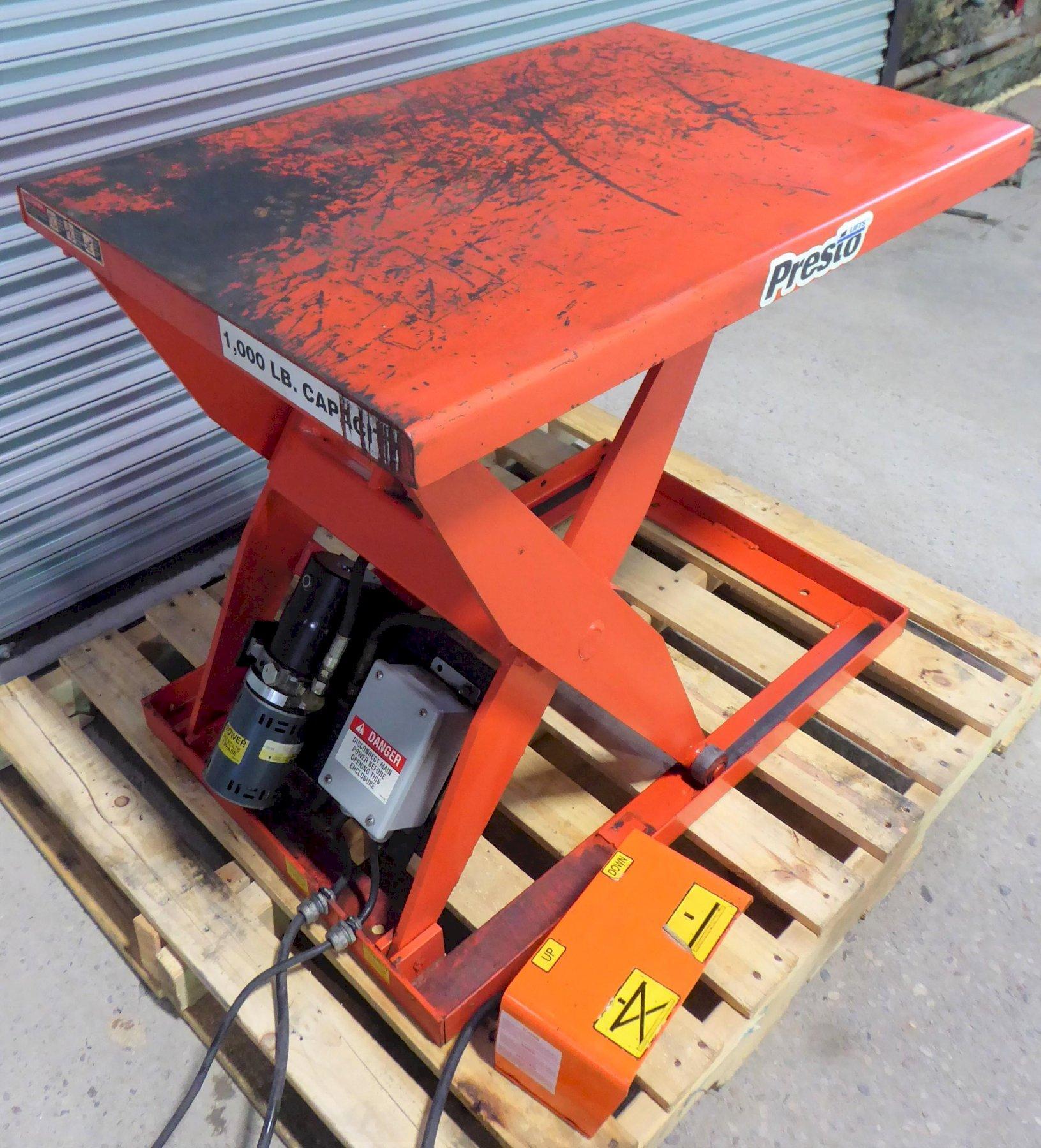 1000 Lb. Presto Scissor Lift Table, Hydraulic, 24″ x 36″ Platform, 1 Phase