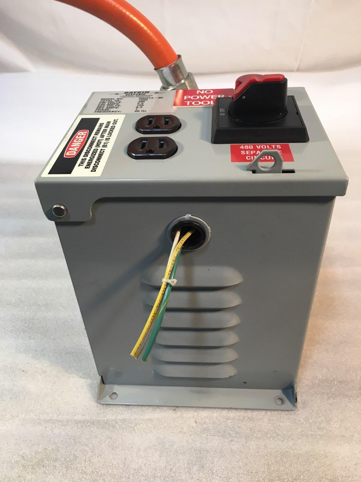 DAYKIN ELECTRIC MDGTA-05 Transformer Disconnect, Total VA-1000, Pri Volts 480, Sec Volts 120.