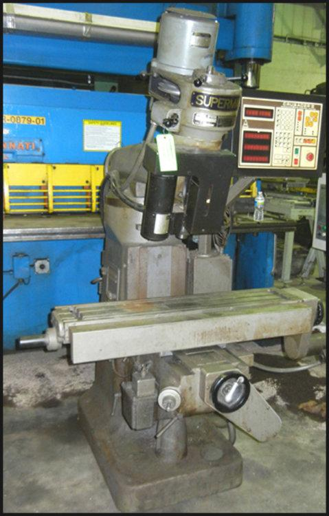 "USED SUPERMAX 1-1/2 VA,  3-AXIS CNC VERTICAL MILL (W1379), Model 1-1/2 VA, 9"" x 42"", Stock No. 10427"