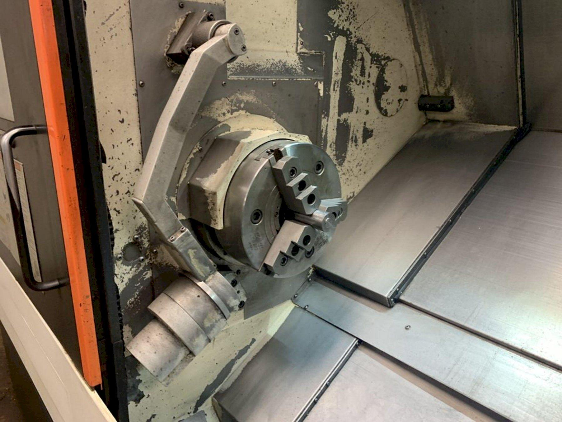 """MAZAK QUICK TURN SMART 350 CNC LATHE, Mazatrol Smart CNC Control, 28.3"""" Swing, 12"""" 3-Jaw Chuck, 52"""" Between Centers, 48"""" Max Turning Length, 4"""" Bar Capacity, 30 HP Spindle, 3300 Max Spindle RPM, 12-Position Turret, Tool Setter, Chip Conveyor & Coolant System, New 2012."""