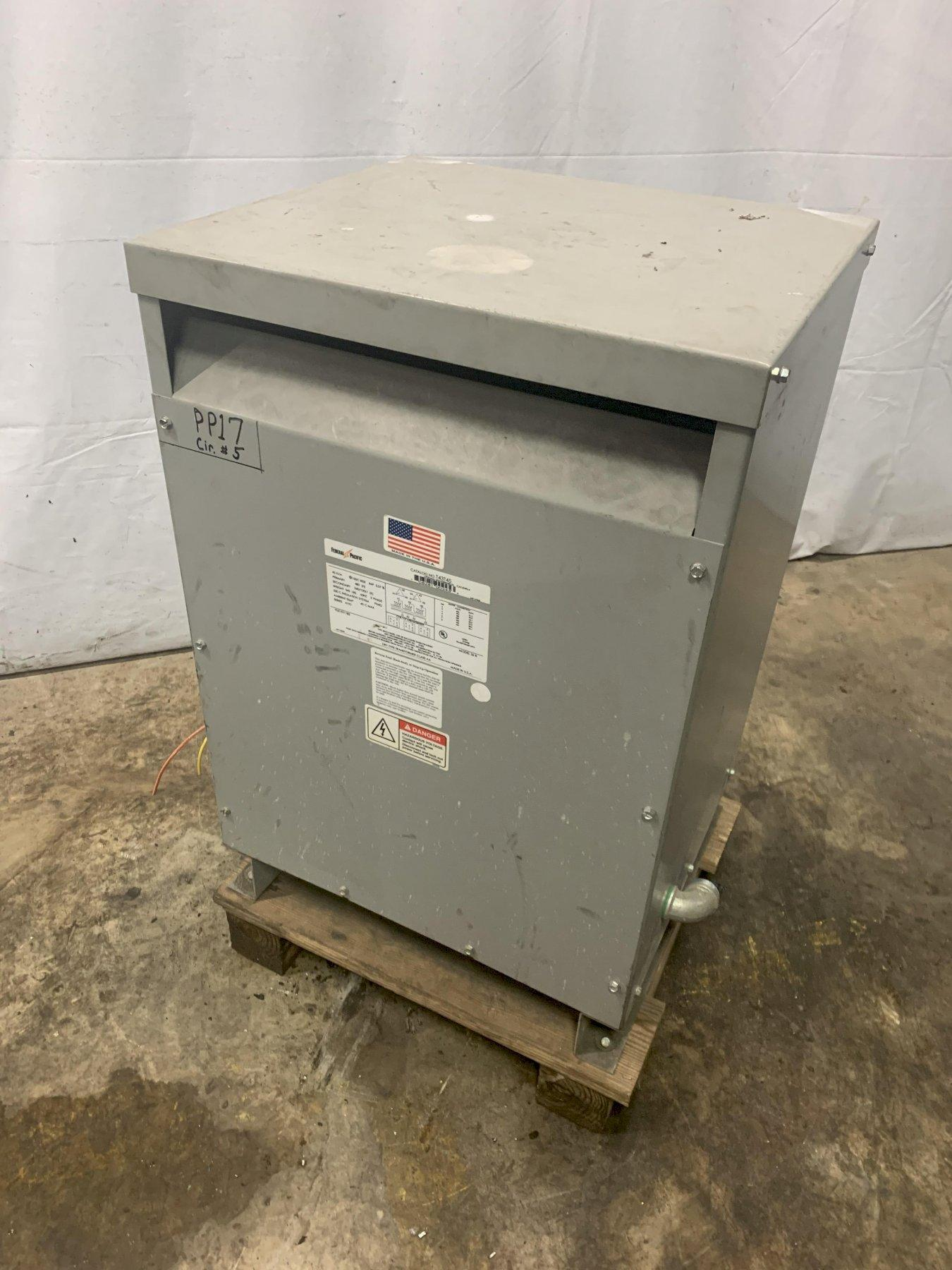 45 KVA FEDERAL PACIFIC 480 TO 240/120LT VOLT ELECTRIC TRANSFORMER: STOCK 12296