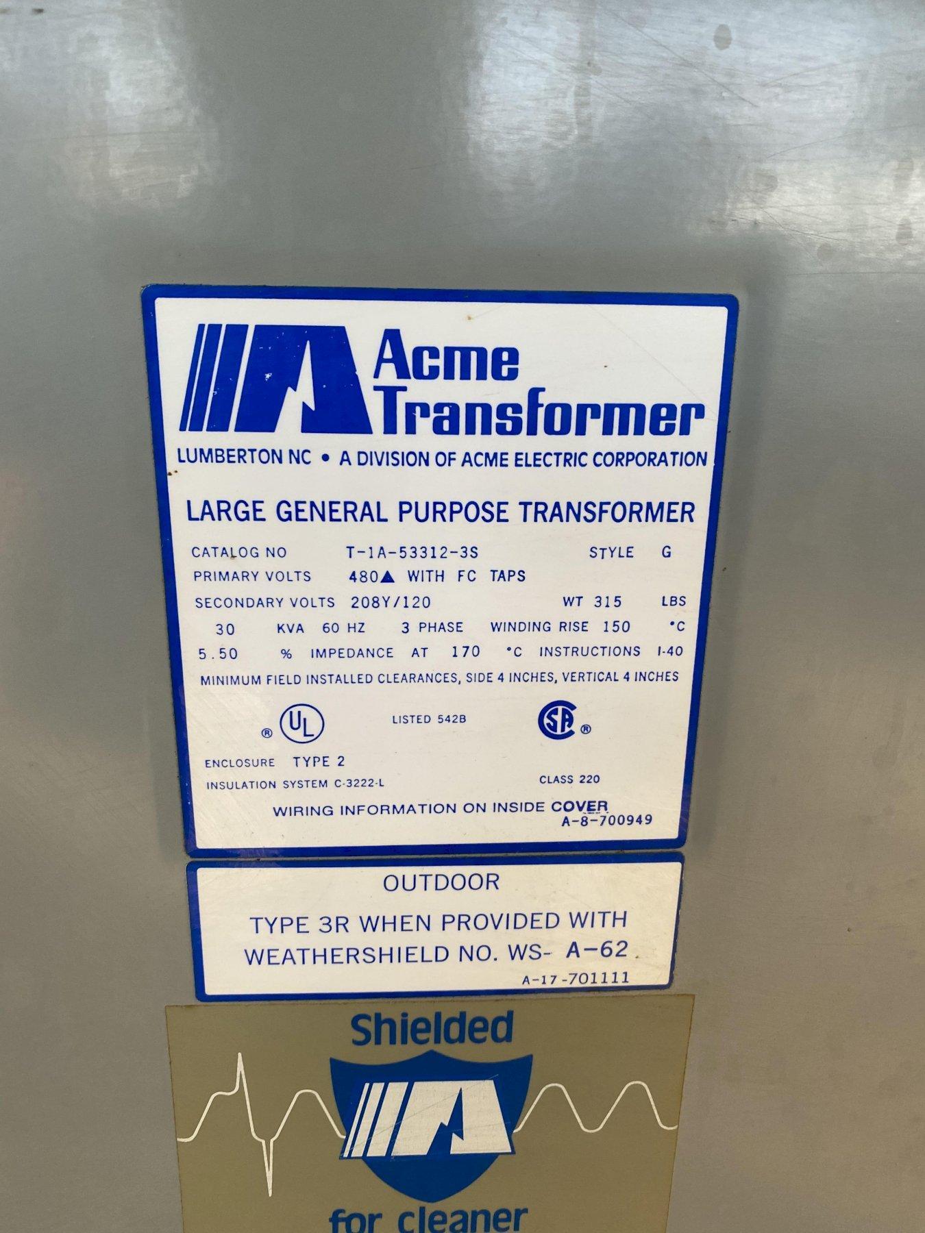 30 KVA ACME 480 PRIMARY, 208/120 SECONDARY STEPDOWN TRANSFORMER. STOCK # 1160720