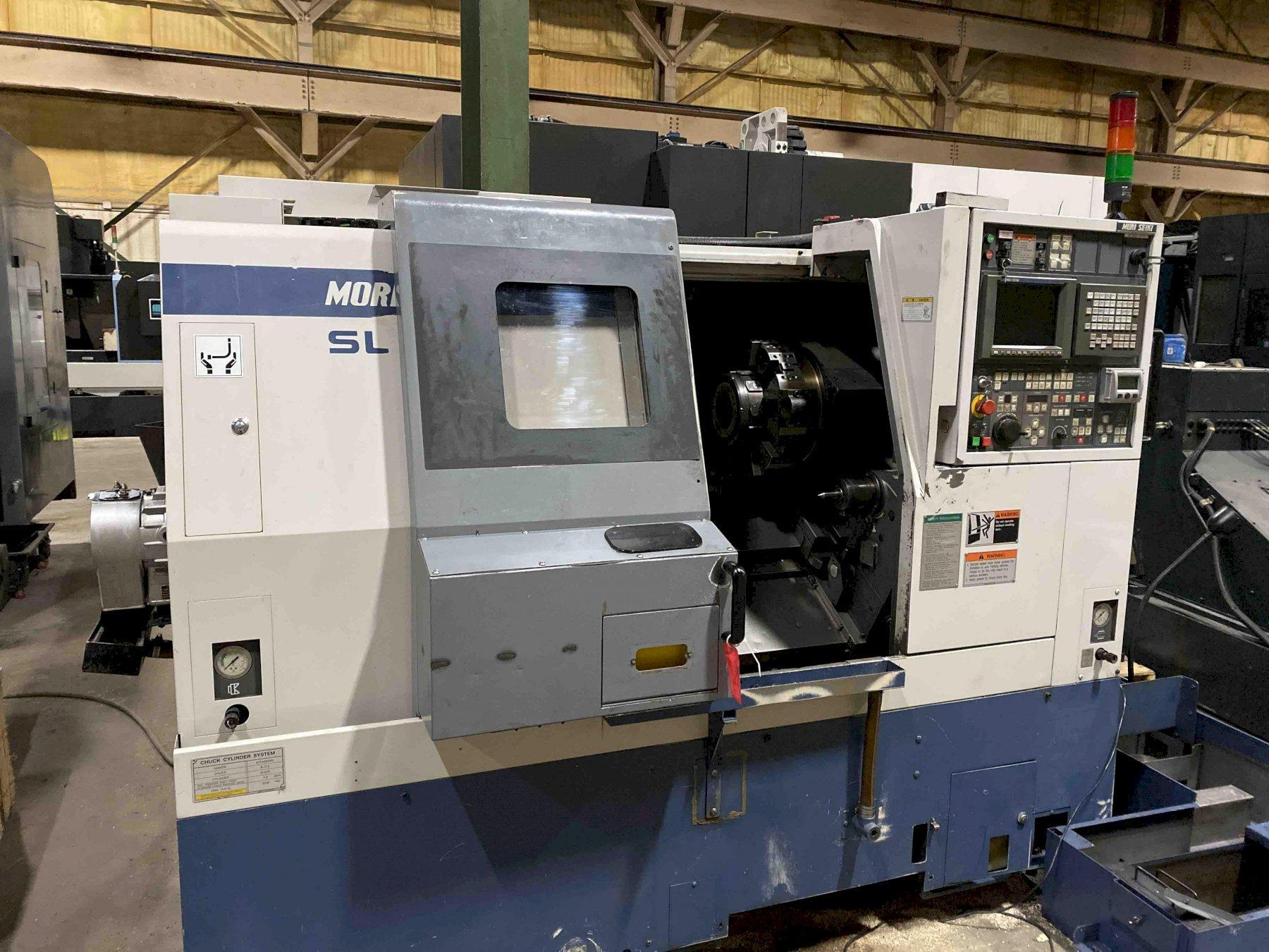 "Mori Seiki SL250BMC CNC Lathe, MSC-518, 10"" Chuck, 22.6"" Centers, 2.8"" Bar Capacity, Live Milling, Parts Catcher, 10 Position Turret, Chip Conveyor, Tooling, 1997"
