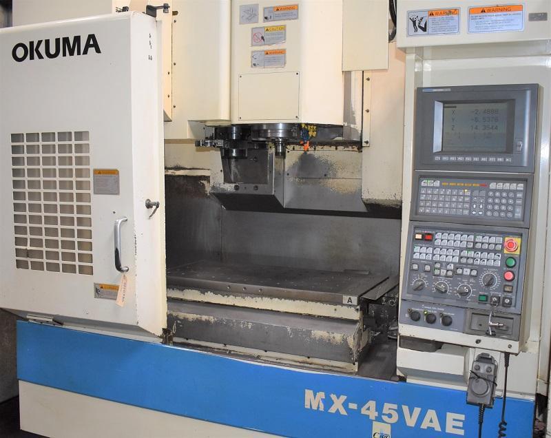 "OKUMA MX-45VAE, OSP-U10M CNC Control, (2) 19"" x 39"" Pallets with Shuttle, Travels X=30"", Y=18"", Z=17"", 7000 Max Spindle RPM, 20 ATC, Chip Conveyor."