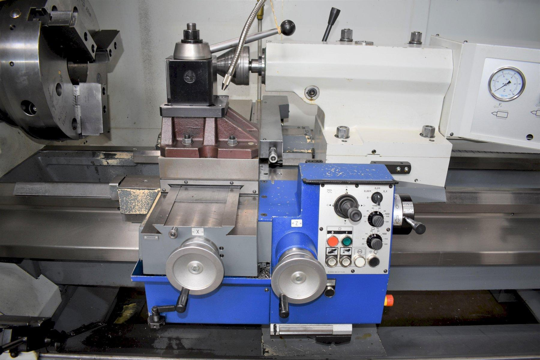"""WEILER E70 x 2000, Siemens 840D CNC Control (Weiler SL2 Software), Lots of CNC Control Options including Teach Functions, 20"""" 3-Jaw Chuck, 6"""" Spindle Bore, 28"""" Max Swing, 80"""" Between Centers, Hydraulic Quill, Aloris Tool Post, 48 HP Spindle Motor, Chip Conveyor & Coolant System, New 2015."""