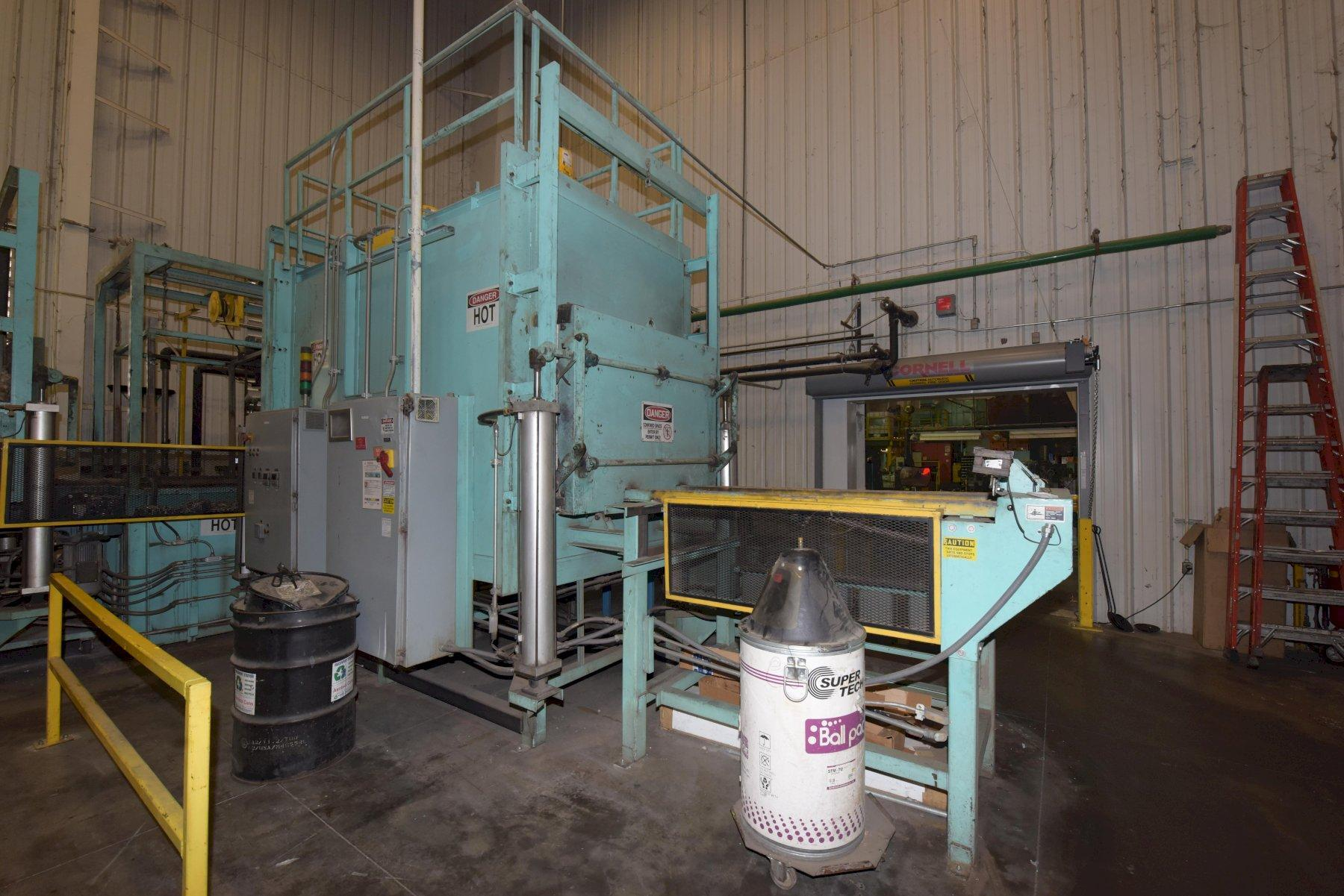 HTF COMPLETE T6 HEAT TREAT LINE WITH AGE, TEMPER AND QUENCH S.N 0601 TEMPER RATED AT 1000 DEGREE F, AGE RATED AT 450 DEGREE F, WITH 2007 OBERLIN MODEL OPF01 PRESSURE FILTER S/N 067