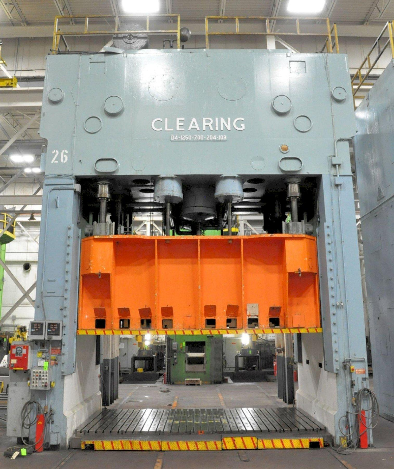 "1,950 Ton Clearing 4-Point Toggle Double Action Straight Side Press, Model D4-1250-700-204-108, 37""/26"" Stroke, 75/68"" Shut Height, 24""/24"" Adj, 204"" x 108"" Rolling Bolster, Cushion"