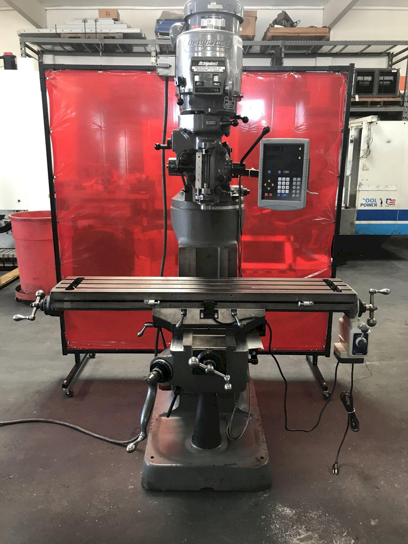 Bridgeport Series I Vertical Mill with Newall 2-Axis C80 DRO, Rebuilt Head, Align Power Feed Table, New XY Screw & Nut, 2-HP Vari-Speed, and Chrome Ways.