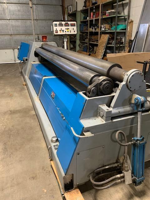 """1/8"""" x 10 ft Used WDM 4-Roll Double Pinch Hydraulic Plate Bending Roll Model 400-7-10"""