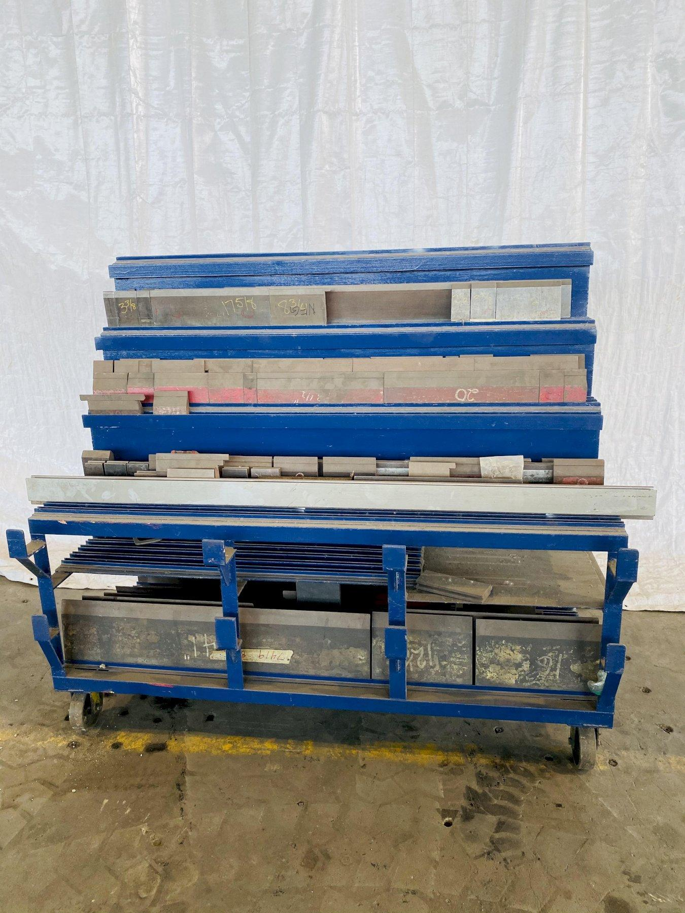 PRESS BRAKE TOOLING CART WITH VARIOUS TOOLING. STOCK # 0205821