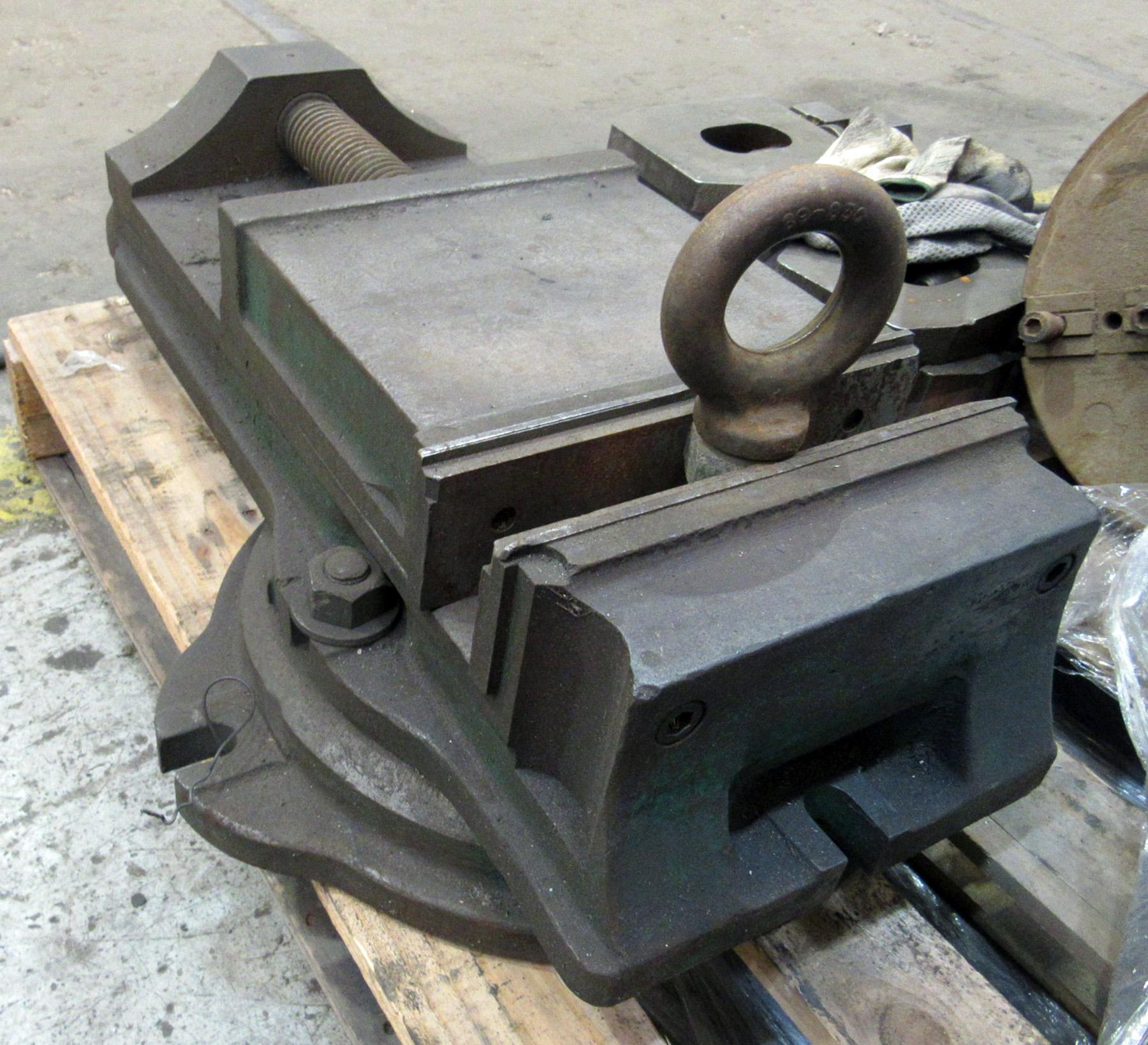 """USED, 9"""" HEAVY DUTY VISE ON ROTARY TABLE"""