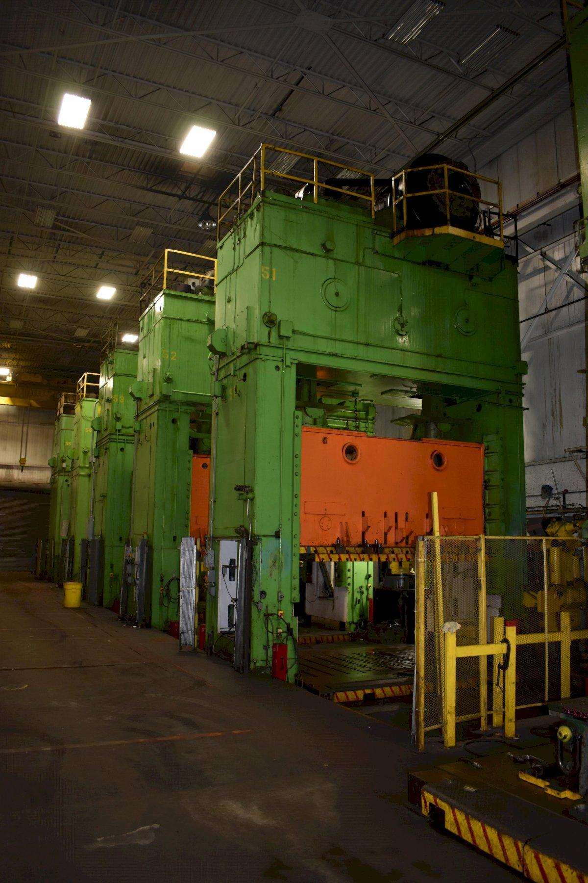 2200 TON ERFURT TANDEM PRESS LINE, CONSISTING OF (2) 2200 TON & (2) 1375 TON STRAIGHT SIDE DOUBLE CRANK MECHANICAL PRESSES