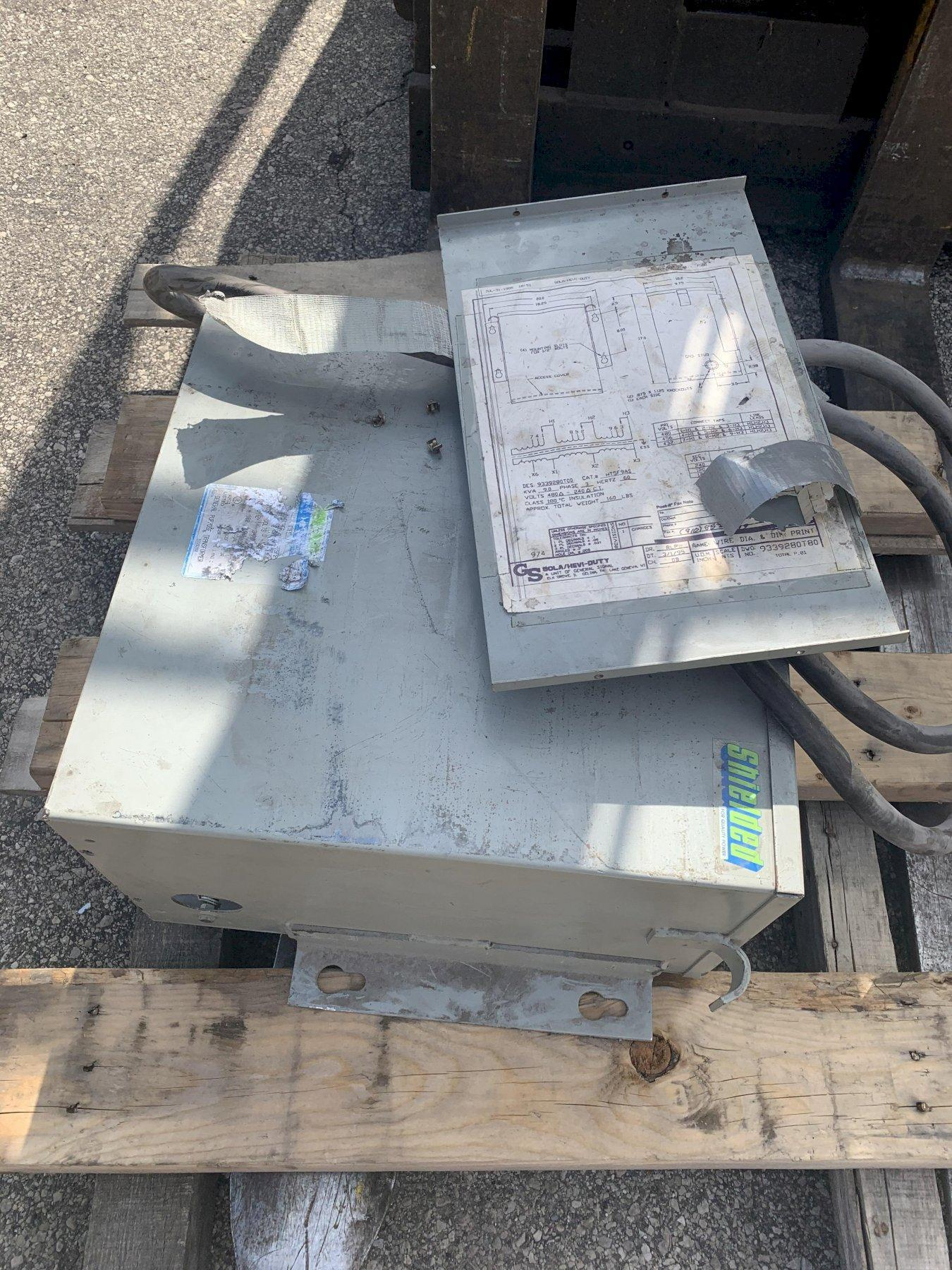 9 KVA G S SOLA 480 DELTA TO 240 DELTA ELECTRICAL TRANSFORMER: STOCK 13436