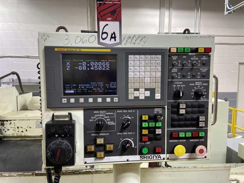 "18"" x 118"" SHIGIYA CNC PLAIN CYLINDRICAL GRINDER, Model GP-45B-300ND2, Fanuc 0i CNC Control, 18"" Swing, 118"" Between Centers, 30"" x 3"" Grinding Wheel, Tailstock Mounted Dresser, Servo Driven w/ Ball Screws, New 2007."