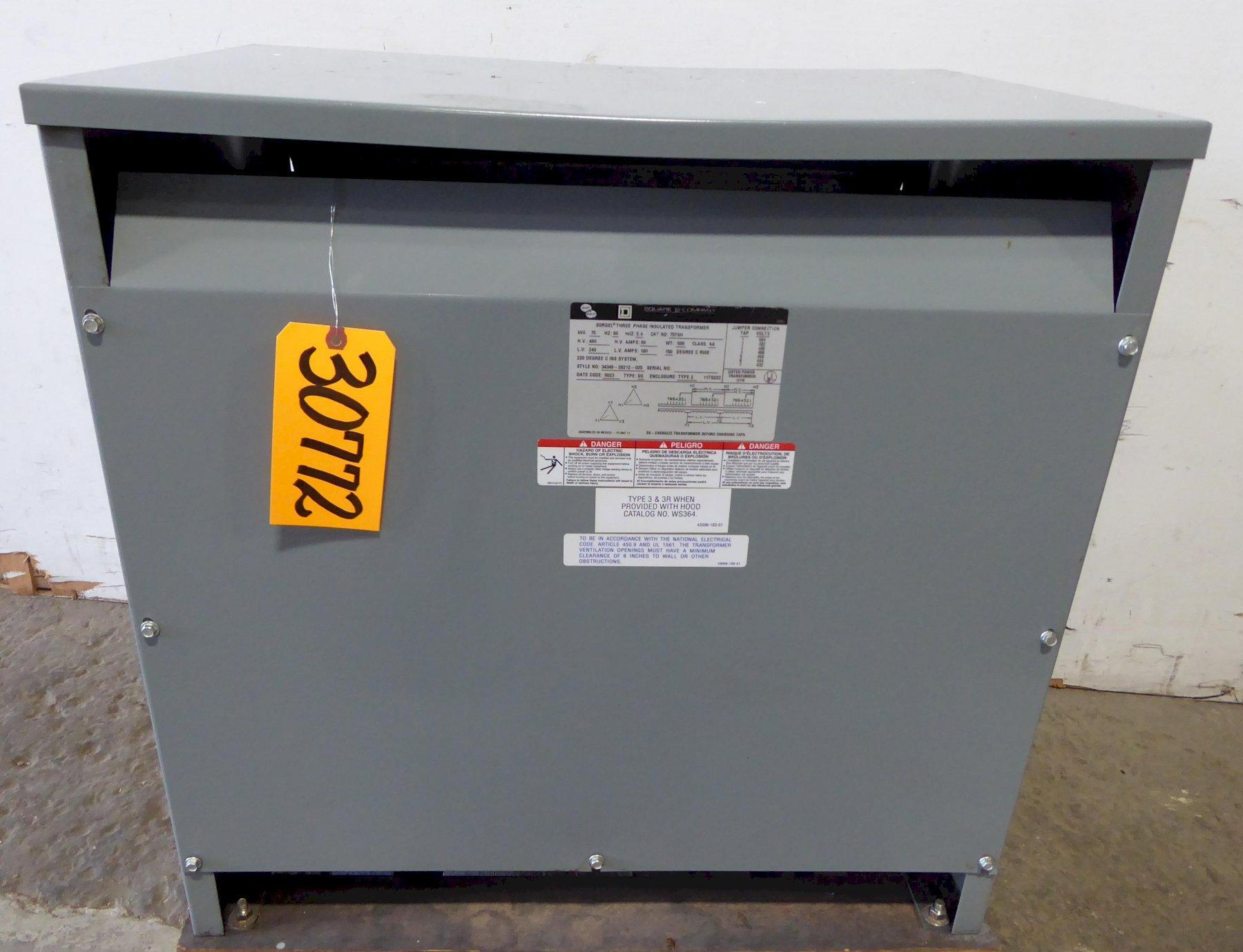 75 KVA Square D Transformer No. 75T6H, H.V: 480, L.V.: 240, 3 Phase