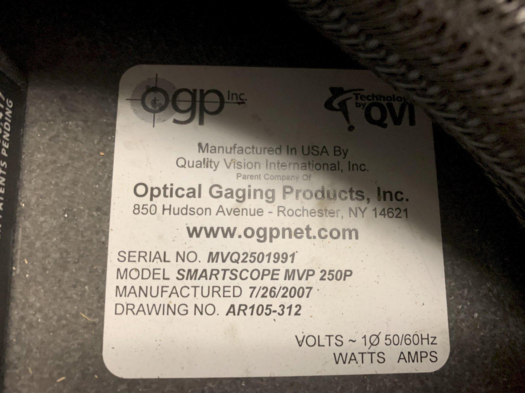 OGP Smartscope MVP 250 Video Measuring Machine, Serial #MVQ2501991, New 2007.