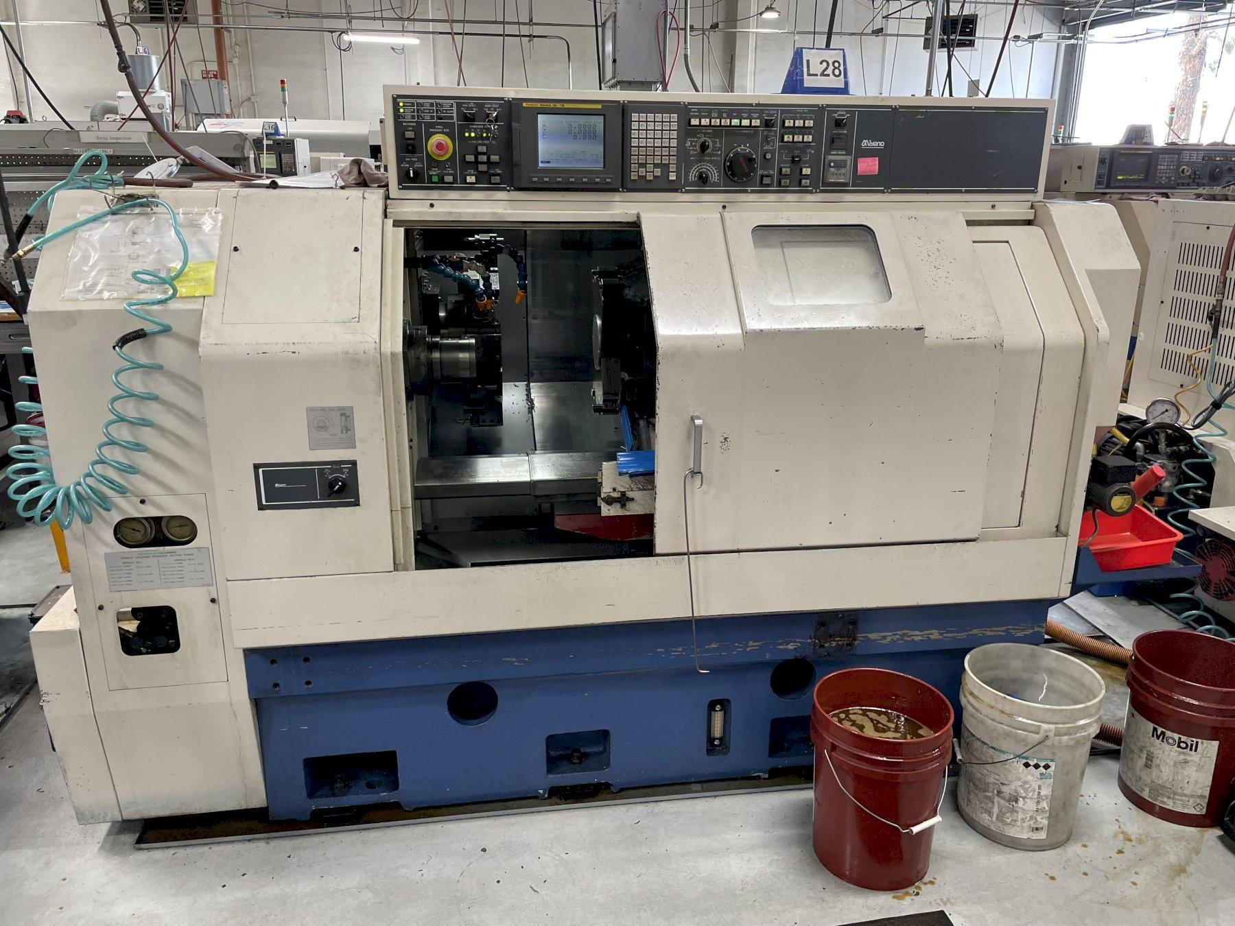 Miyano BNJ-42S Multi-Axis CNC Lathe 2007 with: Fanuc 18i-TB CNC Control, Live Milling, and Parts Catcher.
