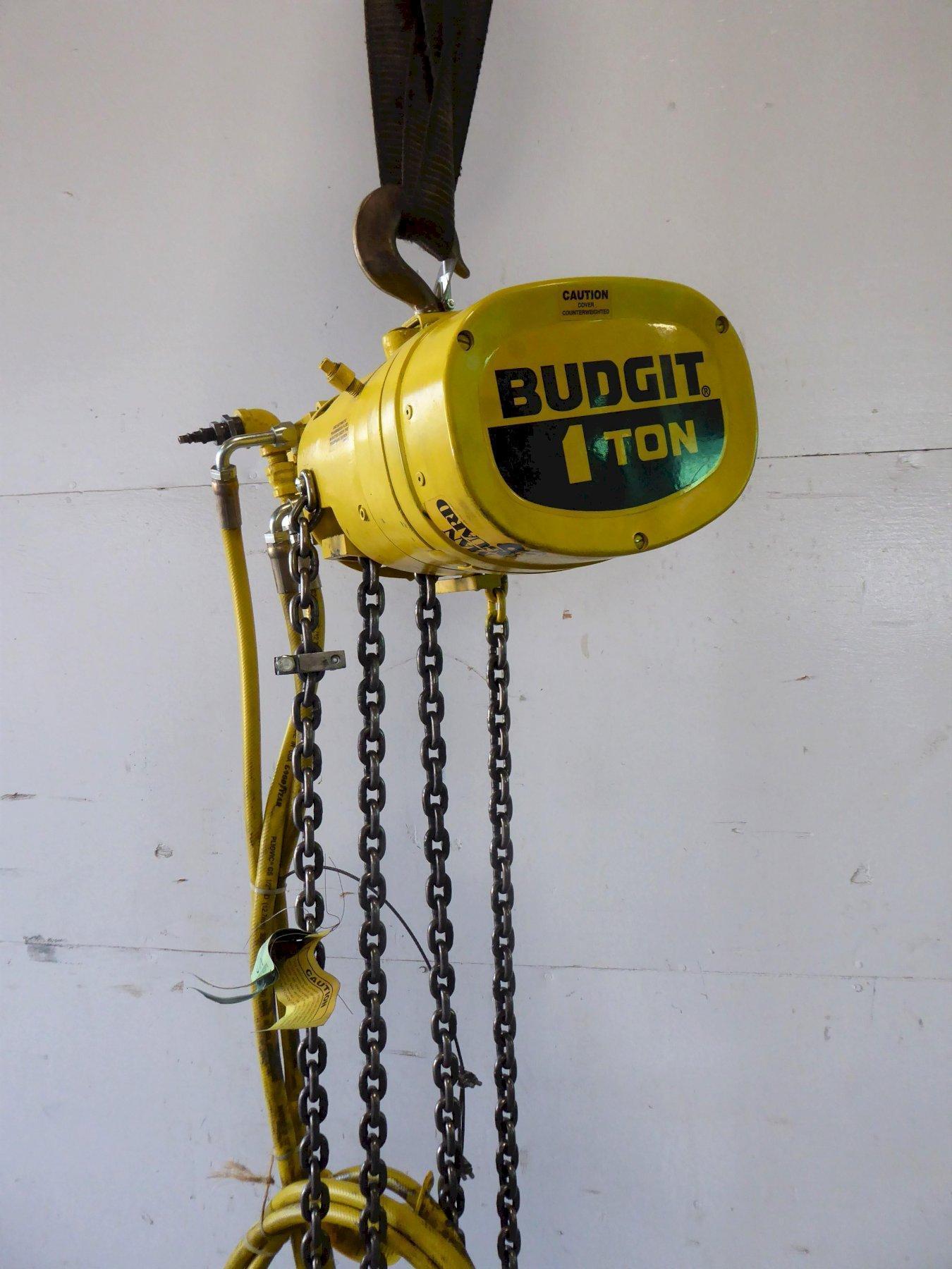 1 Ton Budgit Air Hoist, 11' Lift, 8 FPM