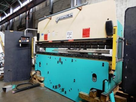 """140 TON X 12' PROMECAM HYDRAULIC UPACTING PRESS BRAKE, Model RG-125-36, 3-Axis Hurco Autobend 7 Backgauge (X,Y,R), 140 Max Ton, 12' Overall Bed Lgth, 10' Max Bend Lgth, 12"""" Opening Hght, 4"""" Strk,Hydraulically Driven, Light Curtains, New 1989."""