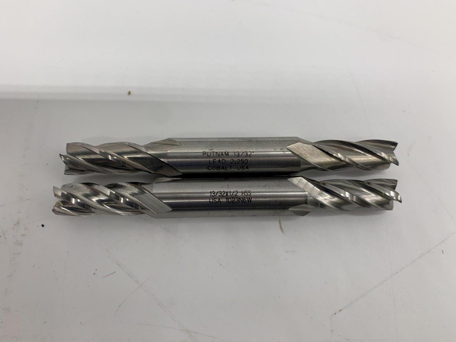 """13/32"""" HSS DOUBLE ENDED 2 FLUTE END MILLS [PUTNAM/MORSE] QTY 2 STOCK #15523"""
