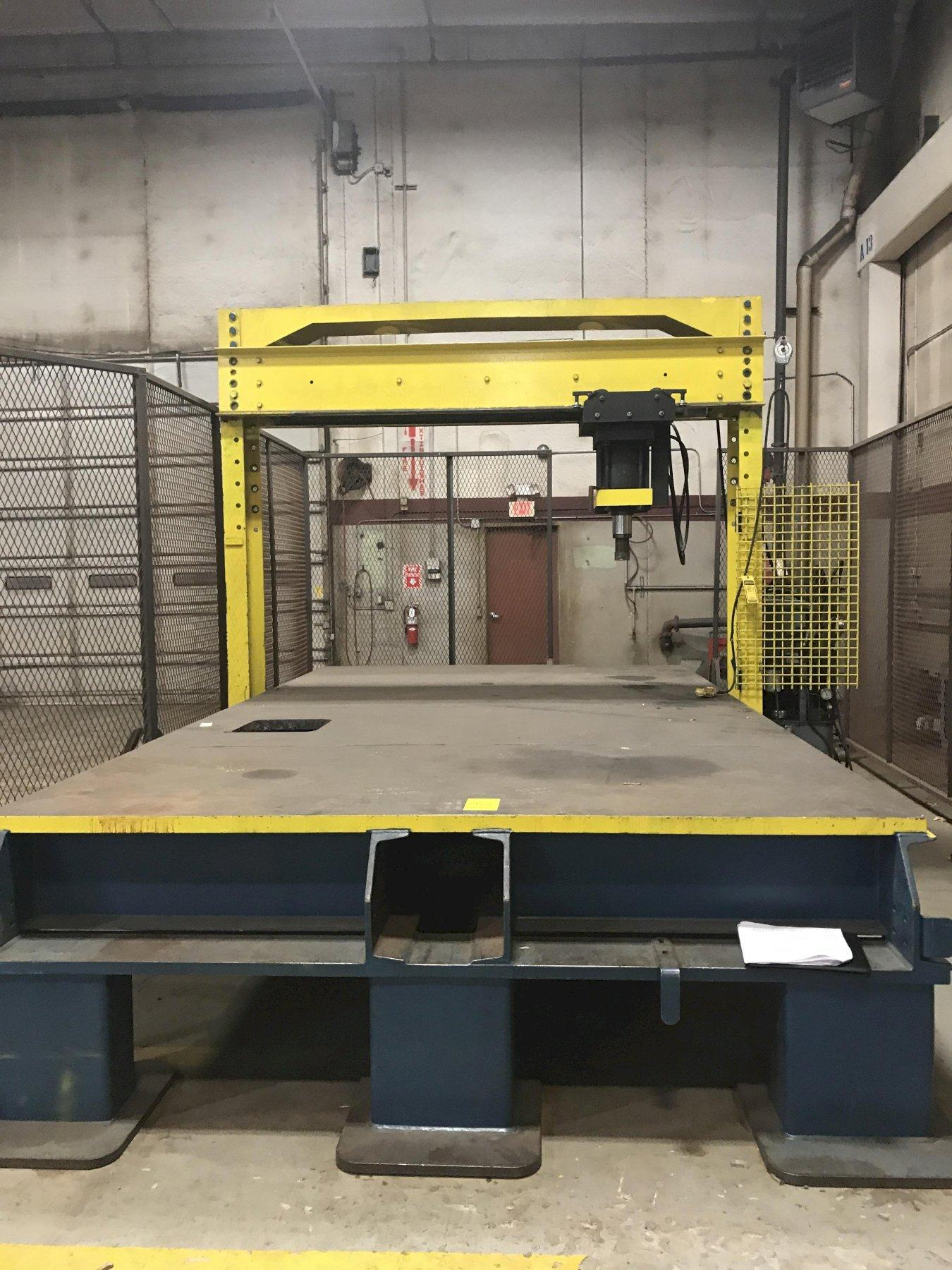 100 TON YATES LARGE TABLE HYDRAULIC TRAVELING H FRAME PRESS: STOCK #13920